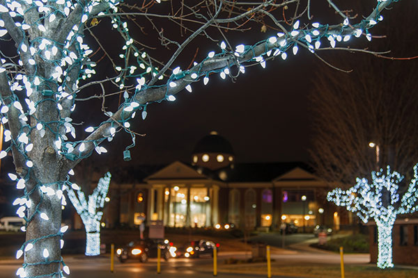 Christmas lights at Liberty University