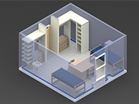 The Hill 2-Person 3D Room Layout