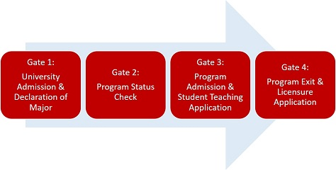 Gate 1: Declaration of Major with Teacher Licensure. Gate 2: Admission to the Educator Preparation Program. Gate 3: Admission to Student Teaching. Gate 4: Completion of Student Teaching