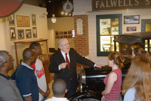 Before his death in 2007, Jerry Falwell Sr. greeted guests at Liberty University and the Jerry Falwell Museum.