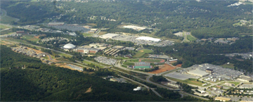 Aerial view of Liberty's campus