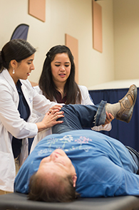 LUCOM student-doctors perform Osteopathic Manipulative Treatment (OMT) on a patient.
