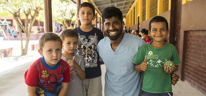LUCOM student-doctor with Guatemala children