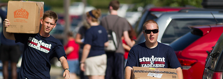 Liberty University Student Leaders help resident students on moving day.