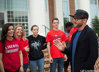 Liberty University alumnus TobyMac visits with students on campus