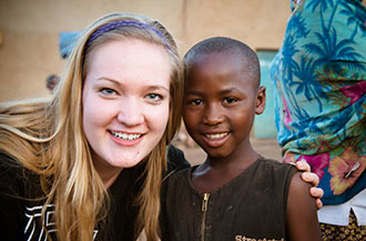 Liberty student on a service trip to Rwanda.