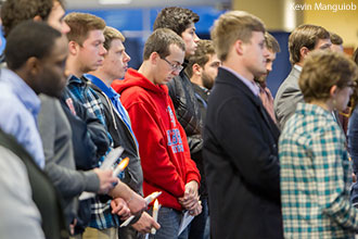 Liberty students attend a memorial service for Joshua Hathaway.