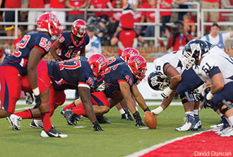 Flames Football during its home opener.