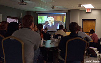 "Liberty RAs watch a sneak peek of Billy Graham's ""The Cross."""