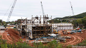 Construction continues on Liberty's new residence hall.