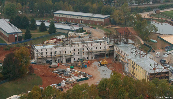 Aerial view of construction on Liberty's new high-rise residence hall.