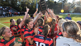 Lady Flames soccer celebrates its fourth Big South Championship.