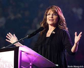 Sarah Palin speaking in Liberty University's Vines Center in 2011 during the Extraordinary Women's Conference.