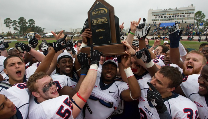Liberty Football celebrates its Big South Conference championship.