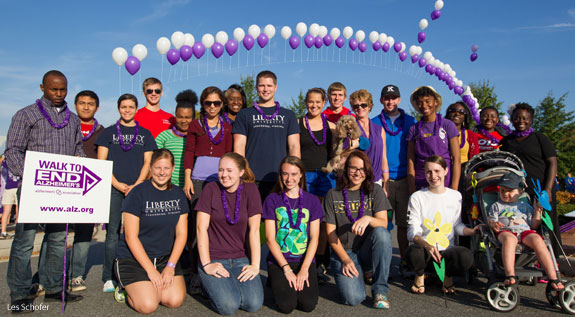 Liberty University students volunteer at the Lynchburg Walk to End Alzheimer's.