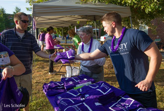 A Liberty University student helps out at the Lynchburg Walk to End Alzheimer's.