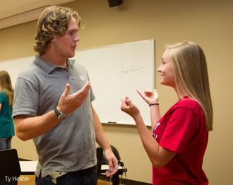 Liberty students interact in an American Sign Language & Interpreting class.