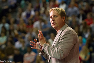 Bobby Gruenewald, creator of the YouVersion Bible app, speaks at Liberty University Convocation.