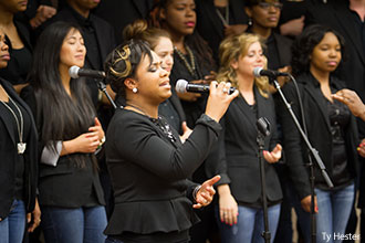LU Praise leads worship during a special Liberty University School of Music Convocation on April 26, 2013.