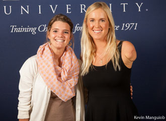 Soul Surfer Bethany Hamilton poses with a Liberty University student.