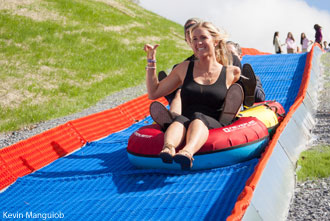 Bethany Hamilton enjoys tubing at Liberty Mountain Snowflex Centre.