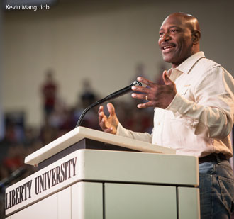 Lee Haney speaks at Liberty University.