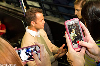 Actor/producer Kirk Cameron interacts with Liberty students after Convocation.