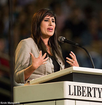Naghmeh Abedini, wife of Iranian-American pastor Saeed Abedin who is imprisoned in Iran, speaks at Liberty University Convocation.