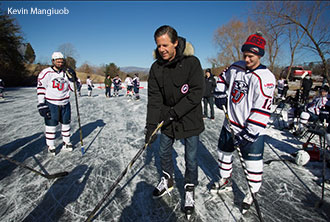 Jerry Falwell, Jr. practices stick skills on the family farm lake.