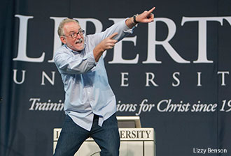 Bob Goff delivered an animated message at Liberty University.