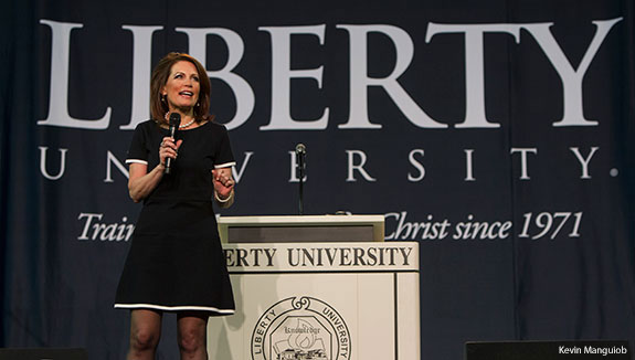 Congresswoman Michele Bachmann takes the stage at Liberty University Convocation on April 16, 2014.