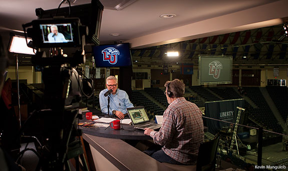 Glenn Beck airs his radio show live on the campus of Liberty University.