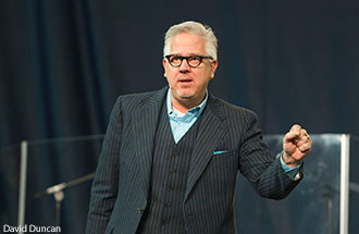 Media personality Glenn Beck addresses students at Liberty University on April 25, 2014.