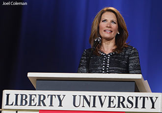 Michele Bachmann speaks at Liberty University on Sept. 28, 2011.
