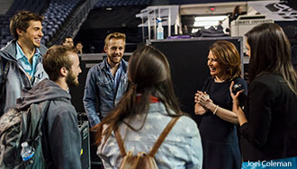 U.S. Rep. Michele Bachmann interacts with Liberty University students.