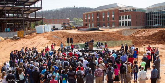 An overhead view of the Liberty University Center for Music & the Worship Arts groundbreaking ceremony.