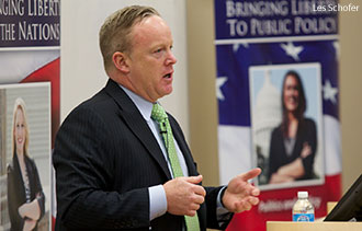 Sean Spicer, RNC communications director, speaks at Liberty University's Helms School of Government.