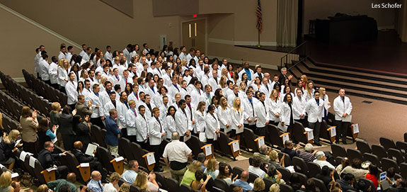 Liberty medical students are recognized at the white coat ceremony.