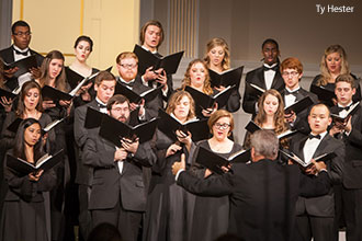 Liberty University's Chamber Singers Choir performs at a recent concert.