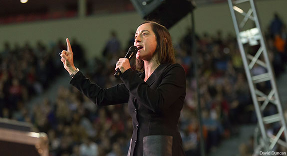 Christine Cain speaks at Liberty University Convocation.