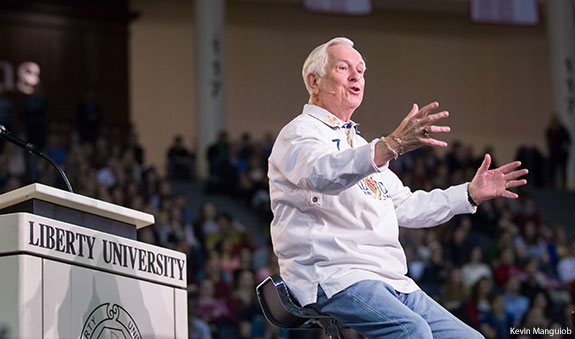 Josh McDowell speaks at Liberty University Convocation.