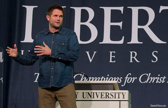Kyle Idleman speaks at Liberty University Convocation.