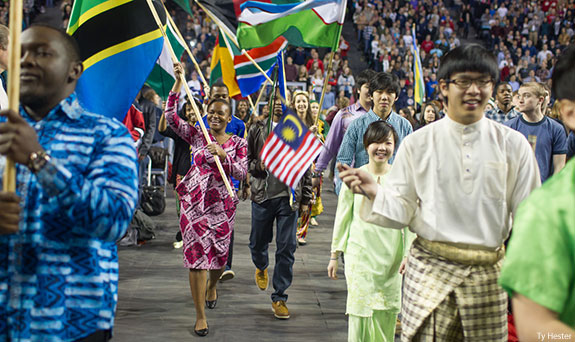 The Parade of Nations at Liberty University.
