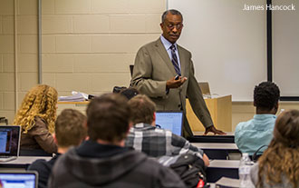 Dr. Allen McFarland teaches a class at Liberty.