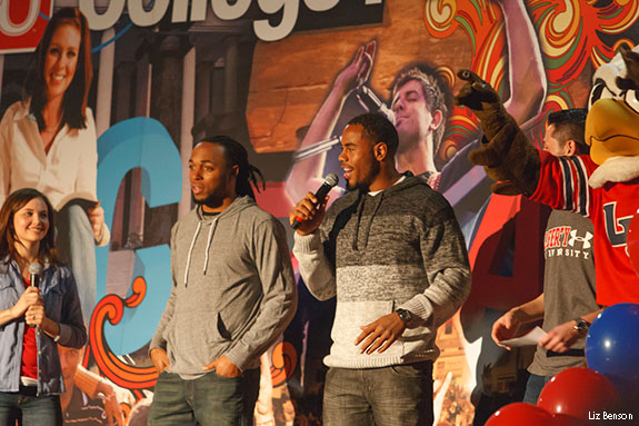 Rashad Jennings and Mike Brown speak at College For A Weekend rally.