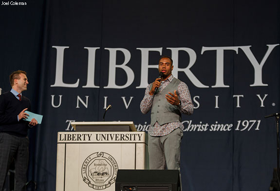 Johnnie Moore interviews Rashad Jennings at Liberty's Convocation.