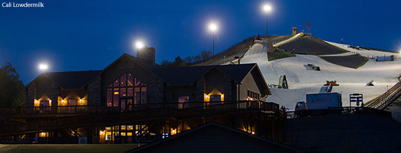 Liberty Mountain Snowflex Centre on the night of the 2013 Dew Games.