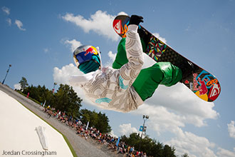 Jaime Nicholls grabs some air on his snowboard at Liberty Mounain Snowflex Centre.