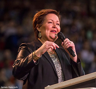 Gail McWilliams speaks at Liberty University Convocation.