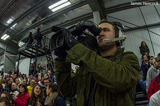 A Liberty student mans a camera during a broadcast.